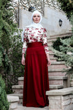 High Waist Wine Red Skirt & Crochet Blouse - E-Modesta