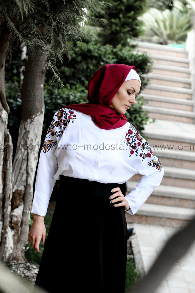 Butterflies Shirt & High Waist Black Skirt - E-Modesta