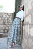 Green Flowers Maxi Skirt With Belt
