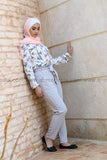 Grey Pants & Floral Shirt Look - E-Modesta