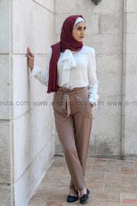 Khaki Pants & White Shirt Elegant Look