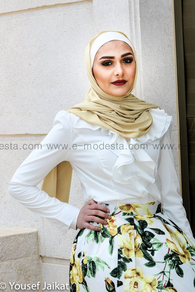 Chiffon Ruffles Formal White Shirt