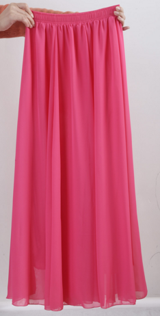 Rose Red Chiffon Skirt
