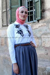 Grey, Black & White Summer Skirt Outift