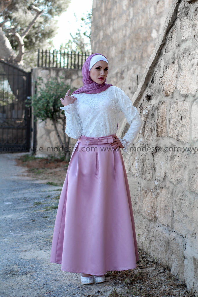 Solid Color Long High Waist Modest Maxi Skirt - Soft Satin - E-Modesta