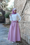SALE PINK Color Long High Waist Modest Maxi Skirt - Soft Satin - E-Modesta