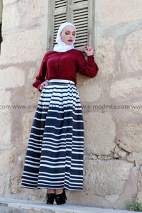 Striped Black & White Ball Gown Skirt with Wine Red Top