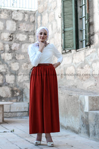 Simple Casual Skirt with Belt - Brick Red