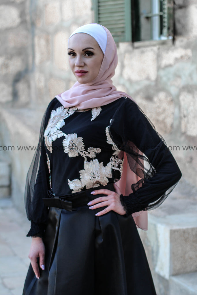 Mesh Blouse with Beige Flowers Colored Pattern - E-Modesta