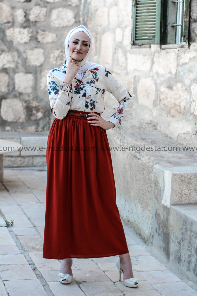 SALE Simple Casual Skirt with Belt - Brick Red - E-Modesta