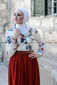 Brick Red Skirt & Floral Vintage Shirt