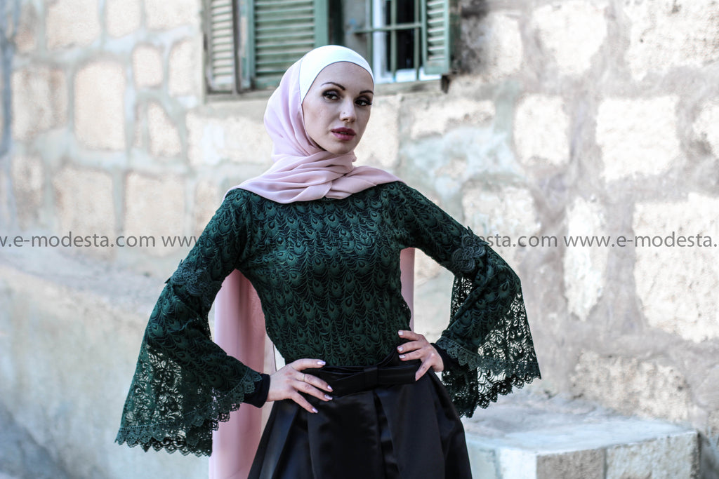 Flare-sleeves Graceful Crochet Vintage Lace Top - E-Modesta