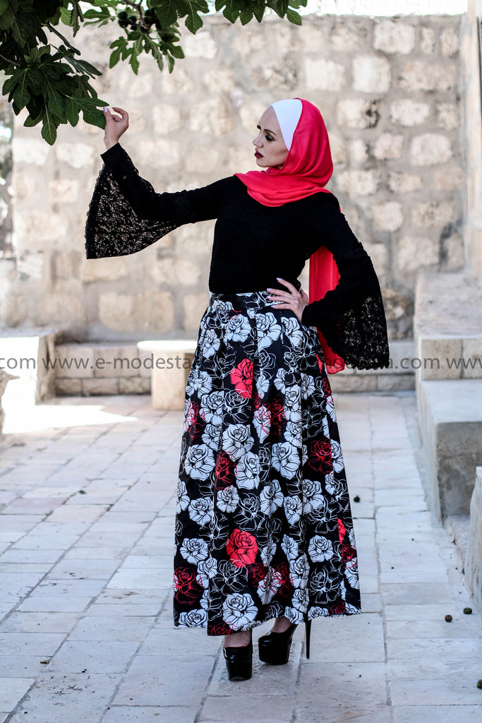 Red, Black and White Floral Pleated Ball Gown Maxi Skirt - E-Modesta