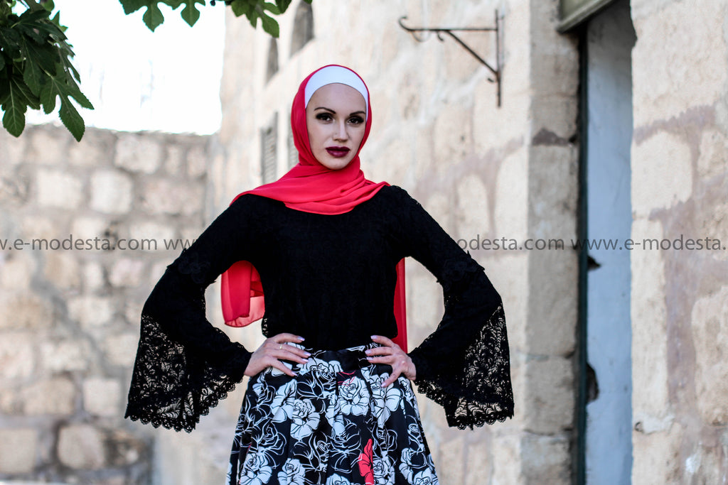 Black, White & Red Ball Gown Skirt Look - E-Modesta