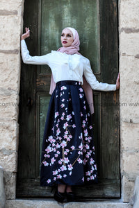 Black Maxi Ball Gown Skirt with Pink Flowers