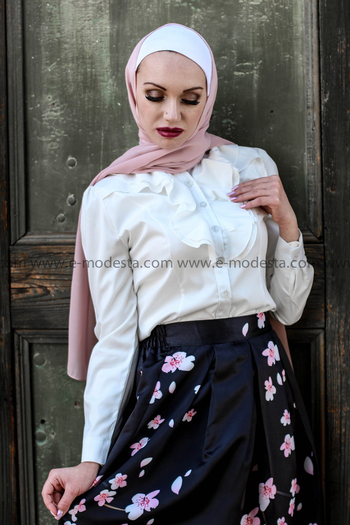 Black Ball Gown Skirt with Pink Flowers Outfit - E-Modesta