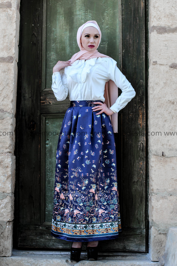 Dark Blue Ball Gown Maxi Skirt & White Shirt Outfit