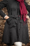 Elegant Striped Midi-length Shirt | Black Color - E-Modesta