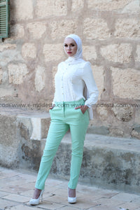 Light Green Fashion Pants & White Lace Shirt Outfit