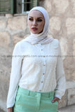 Light Green Fashion Pants & White Lace Shirt Outfit - E-Modesta