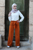 Orange Wide Leg Chiffon Pants High Waist with Tie