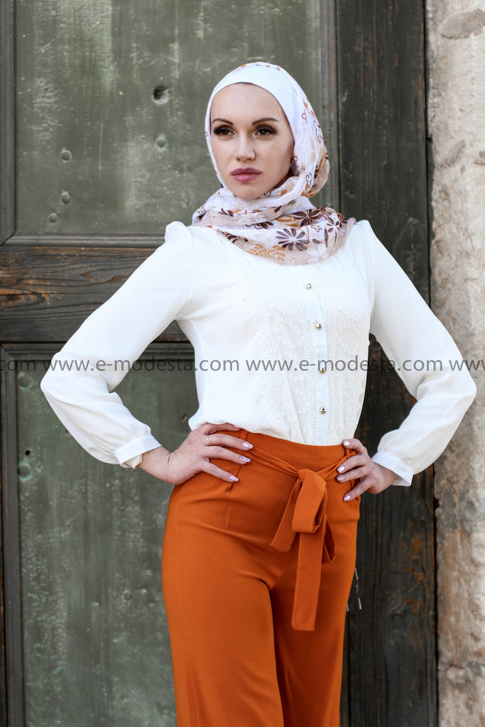 Orange Wide Leg Pants & White Lace Shirt - E-Modesta