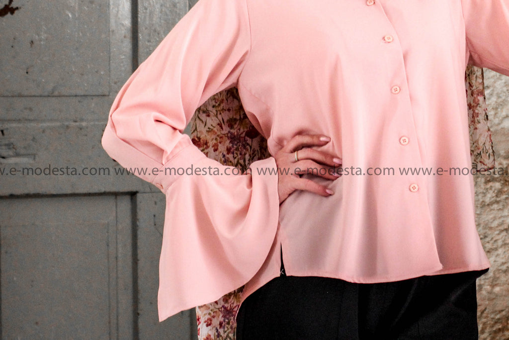 Solid Color Turn-down Collar Flare Sleeve Chiffon Shirt - E-Modesta