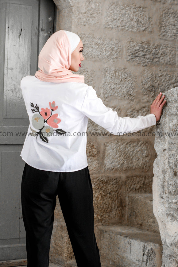 SALE | White Top with Back Embroidery