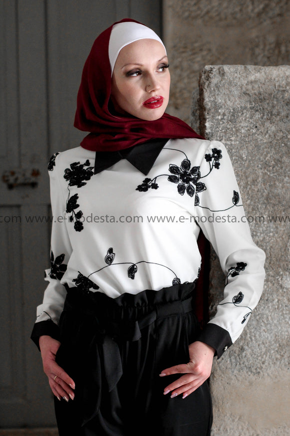 White Long Sleeve Blouse with Black Flowers Embroidery