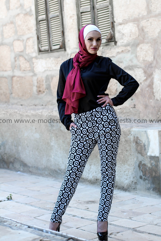 Circled-Pattern Fashion Pants - E-Modesta