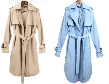 Casual winter long trench coat - Beige and Sky Blue - E-Modesta