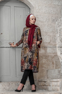 Vintage Long Tunic with Leaves Print - Red Colors