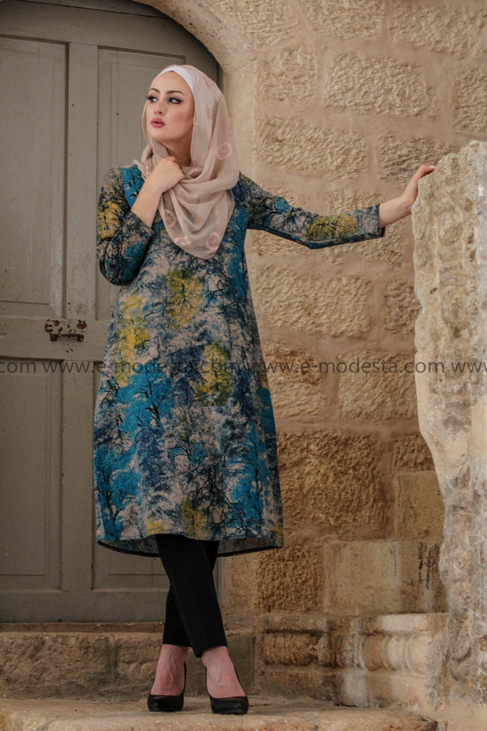 Vintage Long Tunic with Leaves Print - Blue Colors - E-Modesta