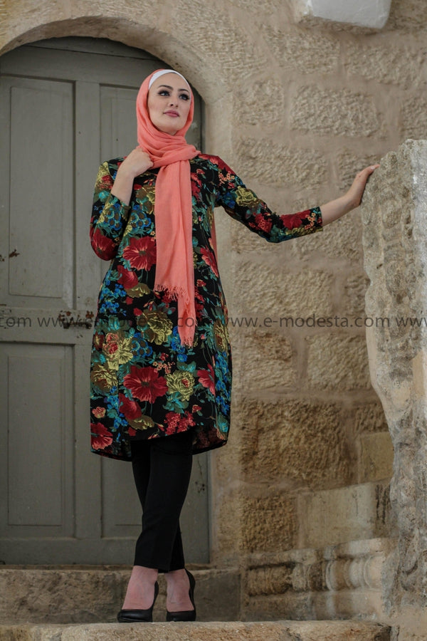 Cotton Linen Black Tunic with Vintage Floral Print - E-Modesta