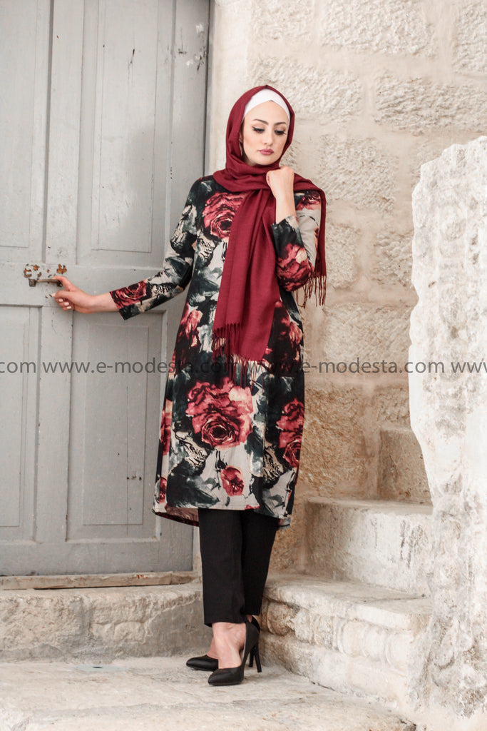 Vintage Long Tunic with Big Floral Print - E-Modesta