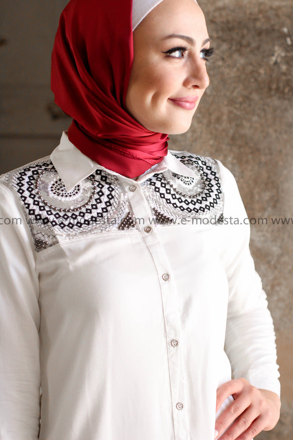 White Mid-Length Shirt with Beads and Rhinestone Embroidery