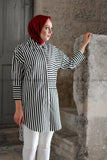 Striped Black and White Long Summer Shirt