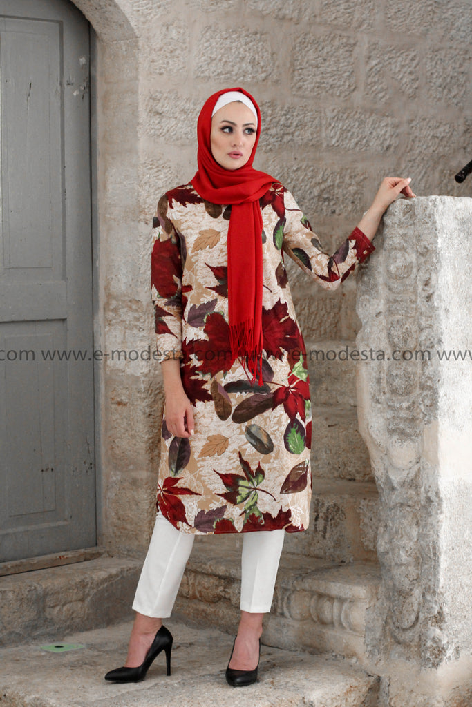 Red Leaves Spring and Summer Tunic - E-Modesta