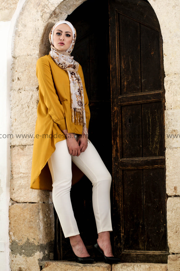 Vintage Asymmetrical Yellow Long Shirt with Turn-down Collar