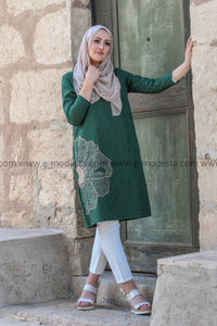 Soft Fabric Tunic with Big Flower Embroidery