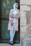 Formal Elegant Long Jacket with Beads Decoration - Beige