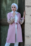 Formal Elegant Long Jacket with Beads Decoration - Pink