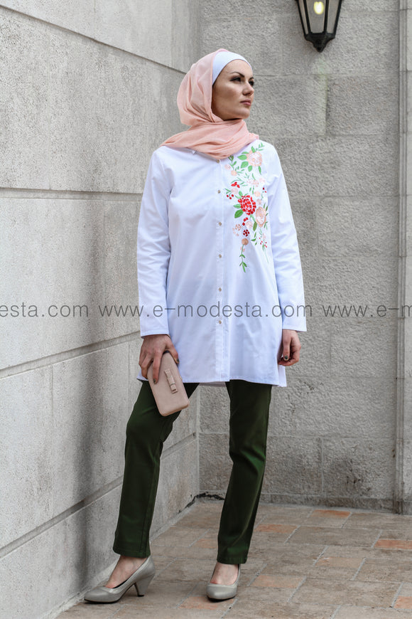 One-sided Embroidery Long Shirt