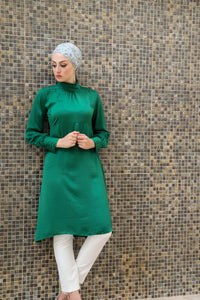 Elegant Retro Pleated Solid midi Tunic with Ruffled Collar and Sleeve