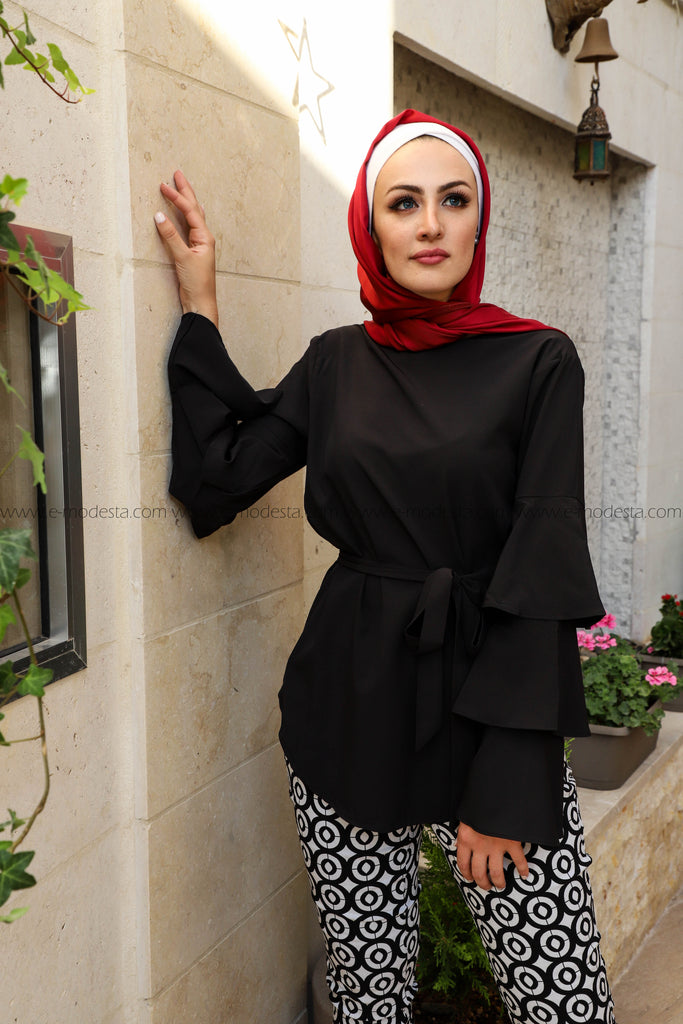 Medium Length Elegant Top with Ruffles Sleeve - E-Modesta