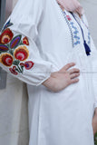 Lantern Sleeve Embroidery Off White Tunic