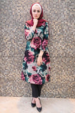Purple Vintage Long Tunic with Big Floral Print