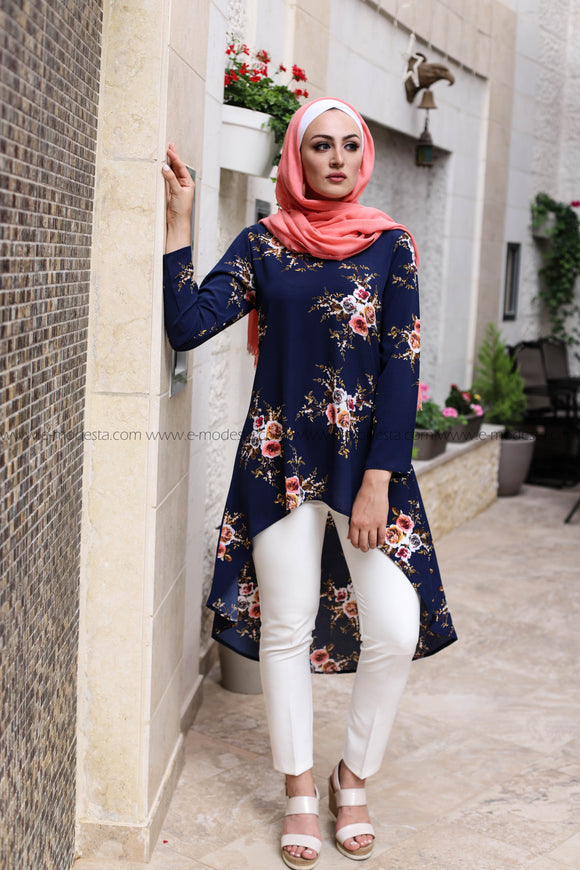 Dovetail Blouse with Print Flower Fabric - Blue Color