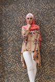Dovetail Blouse with Print Flower Fabric - Beige Color