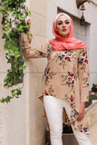 Dovetail Blouse with Print Flower Fabric - Beige Color - E-Modesta